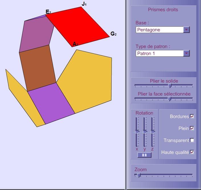 Une animation 3D permettant de déplacer dans l'espace tous les types de prismes droits , de les déplier pour tester les différents patrons et d'observer les différentes arrêtes et sommets.