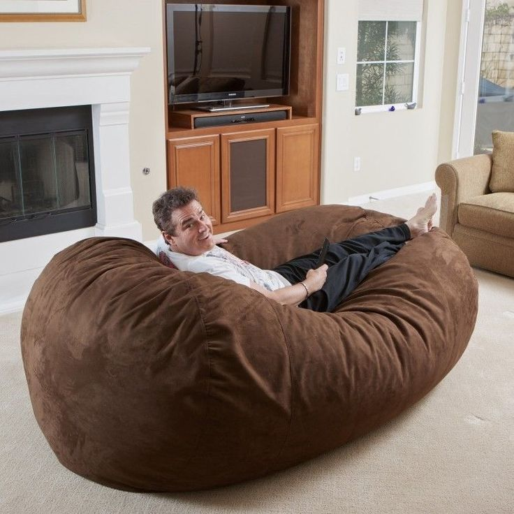 Beanbag Chair Brown Microfiber Faux Suede 8 Ft XXL Comfortable Lounge