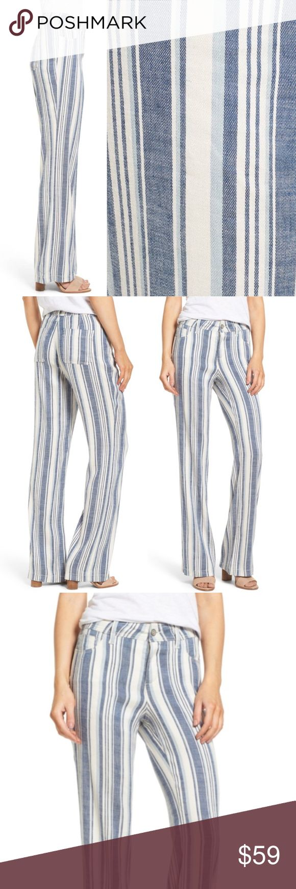 NYDJ Wylie Stripe Linen Blend Trousers Nautical 12 MSRP $114 Sold out  Size 12 Color Waikiki Stripe (blue/cream)  Wide-cut legs, variegated vertical stripes, figure-elongating style 5-pocket pants fashioned from stretch-woven linen blend. NYDJ exclusive lift-tuck technology helps flatten tummy/lift rear. Zip fly+button closure  NWT; no flaws 56% linen/42% viscose/2% elastane Machine wash  Measures flat approx inches Length 43 Inseam 31 Rise 11 Waist 18 Hip 21.5  Offers warmly accepted - If…