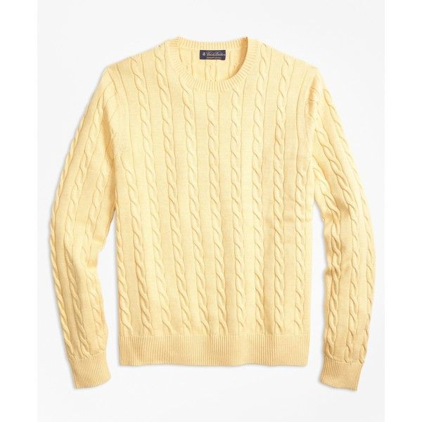 Brooks Brothers Supima® Cotton Cable Crewneck Sweater (125 CAD) ❤ liked on Polyvore featuring men's fashion, men's clothing, men's sweaters, yellow, mens crewneck sweaters, mens cable sweater, mens cotton sweaters, mens chunky cable knit sweater and mens cable knit sweater