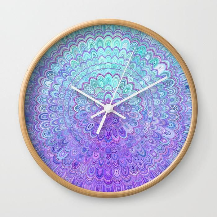 Mandala Flower in Light Blue and Purple Wall Clock by David Zydd #Society6 #wallart #gifts #design