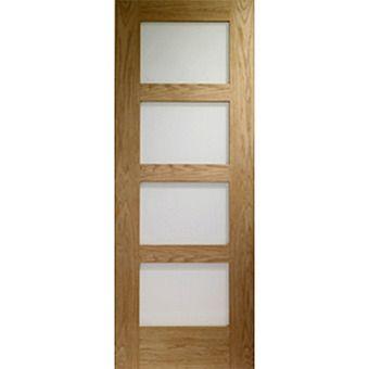 Internal Oak Shaker 4 light Fire Door With Obscure Glass Oak Fire Door