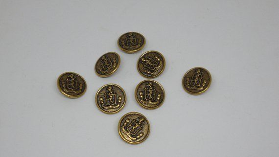 8 Metal Coat of Arms Patterned Brass Vintage Shank Buttons