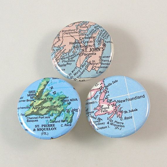 Newfoundland Map Pinback Buttons by XOHandworks $4.50