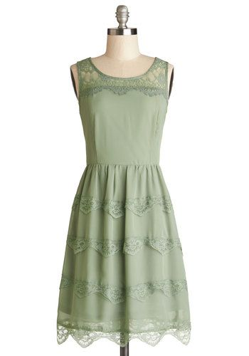 Eucalyptus Grove Dress - Woven, Sheer, Mid-length, Green, Solid, Lace, Tiered, Casual, A-line, Tank top (2 thick straps), Good, Scoop, Scall...