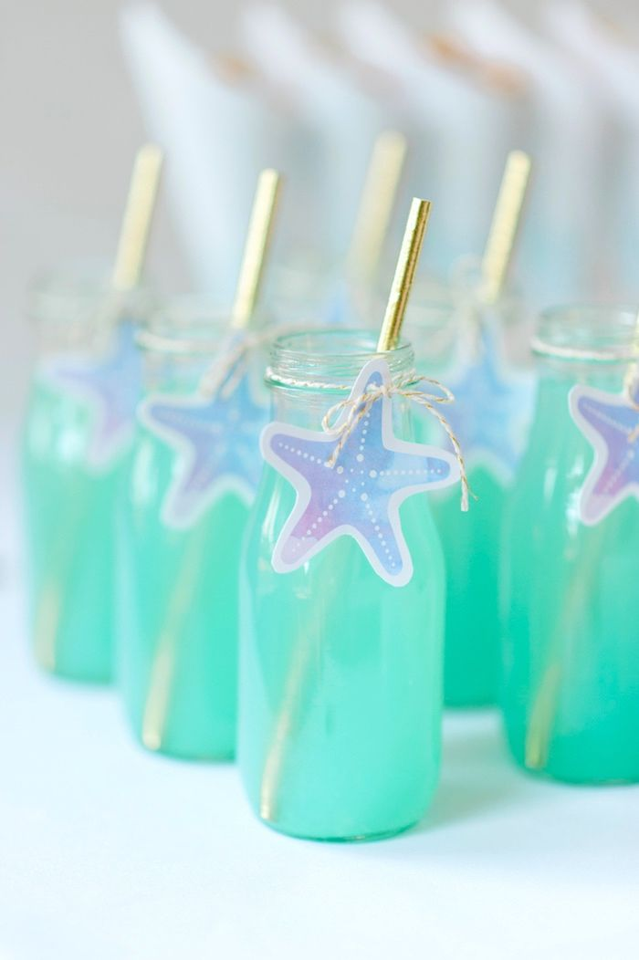 Starfish drink bottles from a Pastel Mermaid Birthday Party on Kara's Party Ideas | KarasPartyIdeas.com (34)