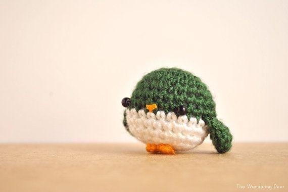 Bird crochet doll amigurumi green bird kawaii by TheWanderingDeer