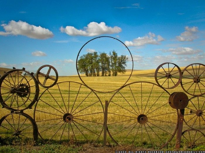 5) Unusual fence. Old Wheels - Recycle & Re-use concept. Absolutely love this!