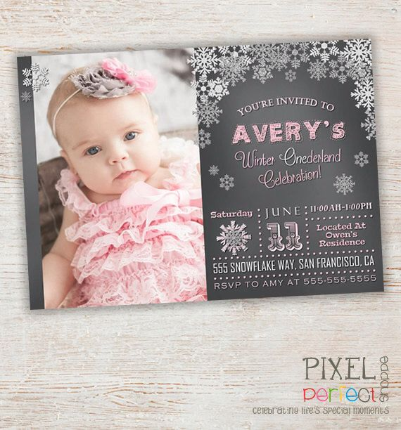 Best Winter Onederland Invitations Ideas On Pinterest Girl - First birthday invitations girl online