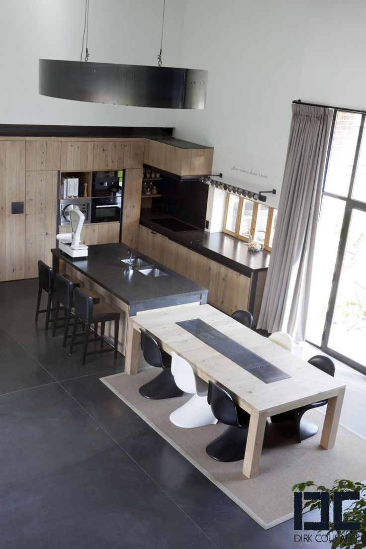 kitchens | Dirk CousaertJUST what I WANT for KIT REMODEL..table wit island, light woods, gray stone counter tops ect
