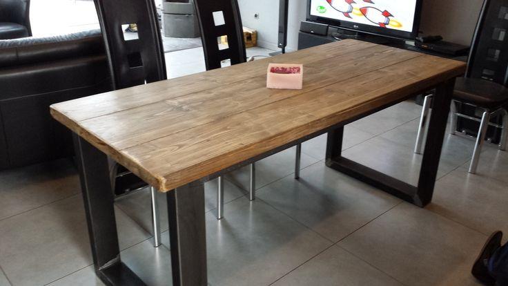 Meuble industriel table de salle manger acier et bois for Pied de table design
