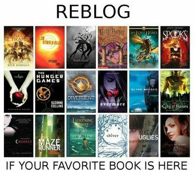 Divergent ,uglies,Vampire academy,evermore, Percy Jackson lighting thief ,city of bones,the maze runner and the hunger games