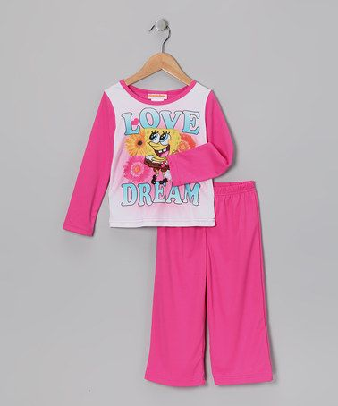Take a look at this Pink 'Love Dream' SpongeBob Pajama Set - Girls by Disney on #zulily today!