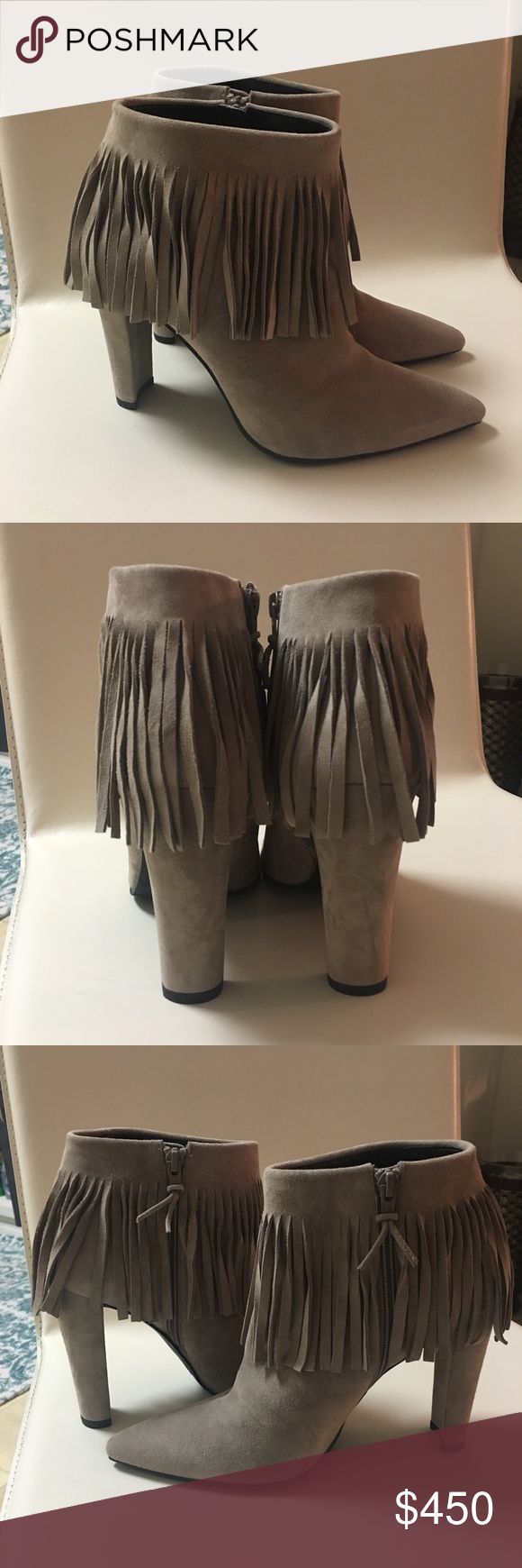 Stuart Weitzman Fringetimes Fringed Ankle Boots A sequel to our SS15 bold bohemian fashion flash, the fringe continues to be a hit with an update on the point-toe detail done on a bootie pattern. Pair the FRINGETIMES with a leather leggings or a body hugging Herve Leger dress- Heel height measures approximately 100MM- Hidden inside zipper- Leather insole- Rubber sole- Made in Spain. Perfect condition. Runs a tiny bit small in my opinion. Stuart Weitzman Shoes Ankle Boots & Booties