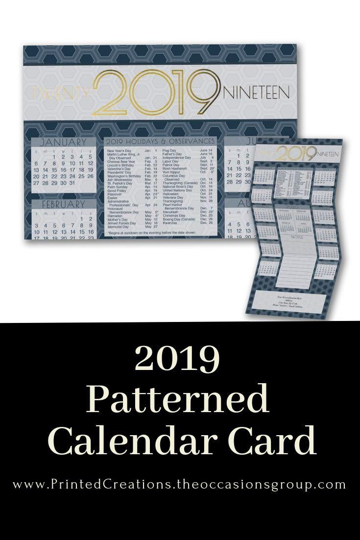 Printed Christmas Cards 2019 Patterned Calendar | 2019 Calendar Cards | Holiday Calendar