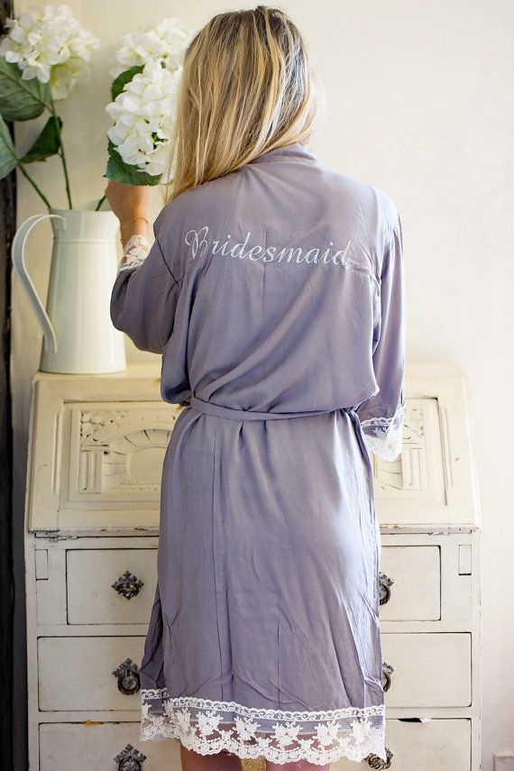 This beautiful plain cotton Lacie wedding robe, perfect whilst you are getting ready on the morning of your wedding or for lounging round the pool on your spa hen weekend.   The stunning gowns are designed with Kimono Lace sleeves  We are the UKs largest supplier of personalised wedding gowns, THE home for Bridal Robes/Gowns. We have many options and colours for your Bridesmaids, Maid of Honour, Mother of the Bride, and Mother of the Groom (and the Bride, of course)!!!  Exclusive…
