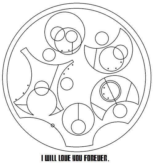 ''I will love you forever'' in Circular Gallifreyan.