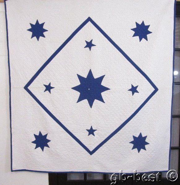 Nautical Stars! 30s Blue White Applique Antique QUILT Constellation 72 x 68 RARE