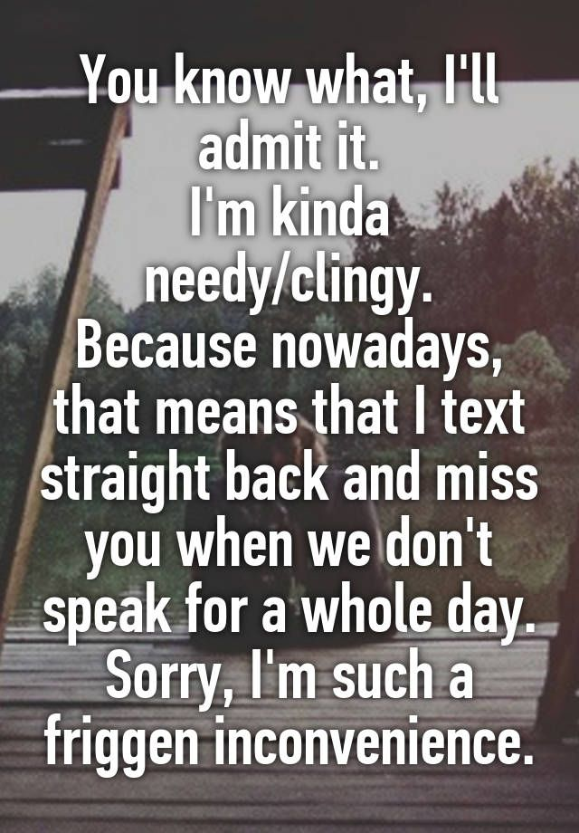 You know what, I'll admit it. I'm kinda needy/clingy. Because nowadays, that means that I text straight back and miss you when we don't speak for a whole day. Sorry, I'm such a friggen inconvenience.