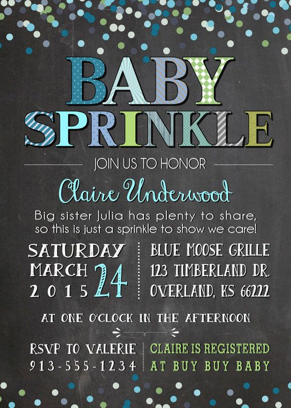 Baby Sprinkle Invitation Boy Chalkboard by KansasCardstock on Etsy