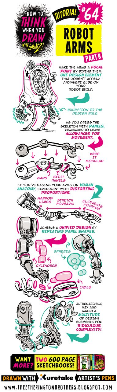See below for today's tutorial, which looks at how to THINK When you draw  ROBOT ARMS. I recommend you use this tutorial in conjunction with...