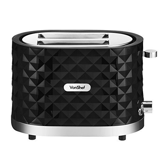 VonShef 1000W Black 2 Slice Diamond Wide Slot Toaster with Anti-Jam Function & Slide Out Crumb Tray