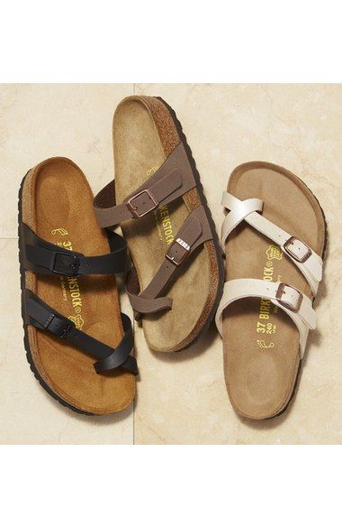 Free shipping and returns on Birkenstock 'Mayari' Birko-Flor Sandal (Women) at Nordstrom.com. An on-trend sandal that's sure to be your go-to favorite for summer is topped with adjustable straps for a custom fit.Konrad Birkenstock crafted the first Birkenstock contoured-footbed sandal in 1897, and the Birkenstock family has been crafting comfortable walking shoes in Germany ever since. Every Birkenstock features a deep heel cup that promotes correct weight distribution and foot alignment…