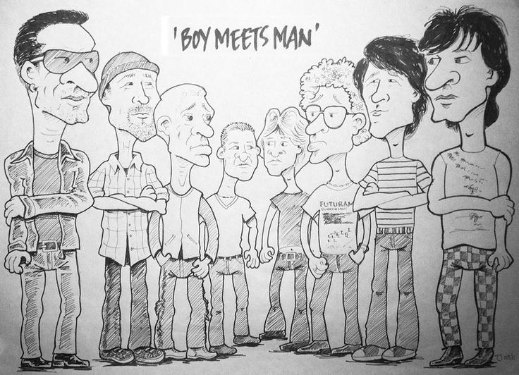 U2 Boy Meets Man by Tony Johnson. 1979 U2 meet 2009 U2.