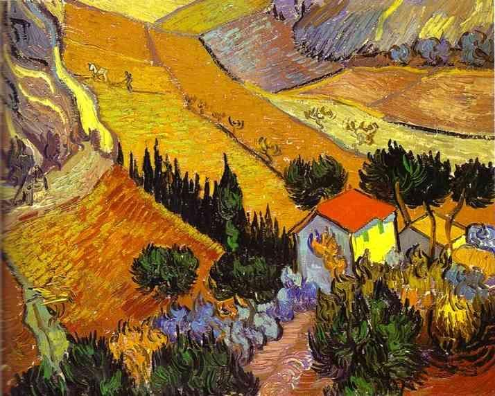 Vincent van Gogh Landscape with House and Laborer
