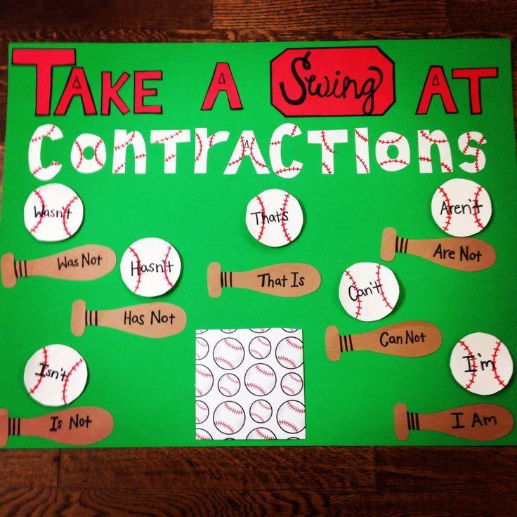 Interactive bulletin board baseball themed contractions