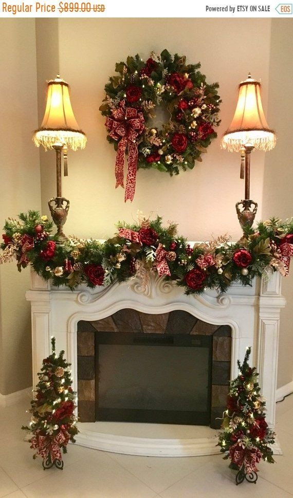 Set Of 4 Pc Christmas Wreath Free Shipping Christmas Garland Topiary Cordless Pre Lit Original Christmas Wreaths Christmas Fireplace Christmas Home