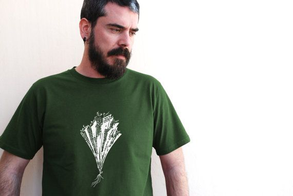 City print on Moss Green color  Men's 100% Organic by theBADINK
