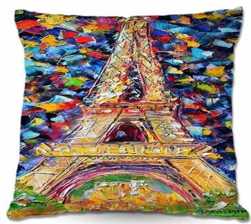 Pillow Woven Poplin - Eiffel Tower At Night modern bed pillows and pillowcases