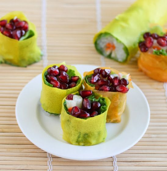 I made some super healthy salad rolls this weekend. An entire roll is only approximately 36 calories, with each piece about 6 calories. The rolls are stuffed with zero calorie noodles, celery, carrots, lettuce and wrapped in colorful soy wrappers. I then sliced the rolls and topped them with pomegranate seeds for color and a …