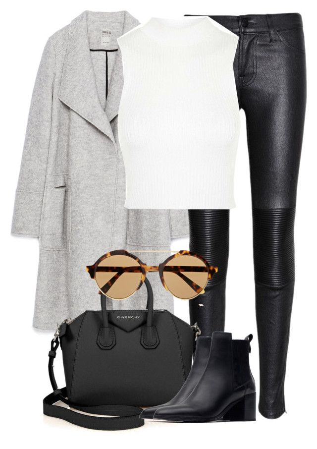 """""""Untitled #2122"""" by rosyfilm ❤ liked on Polyvore featuring Zara, J Brand, Topshop, Givenchy and Illesteva"""