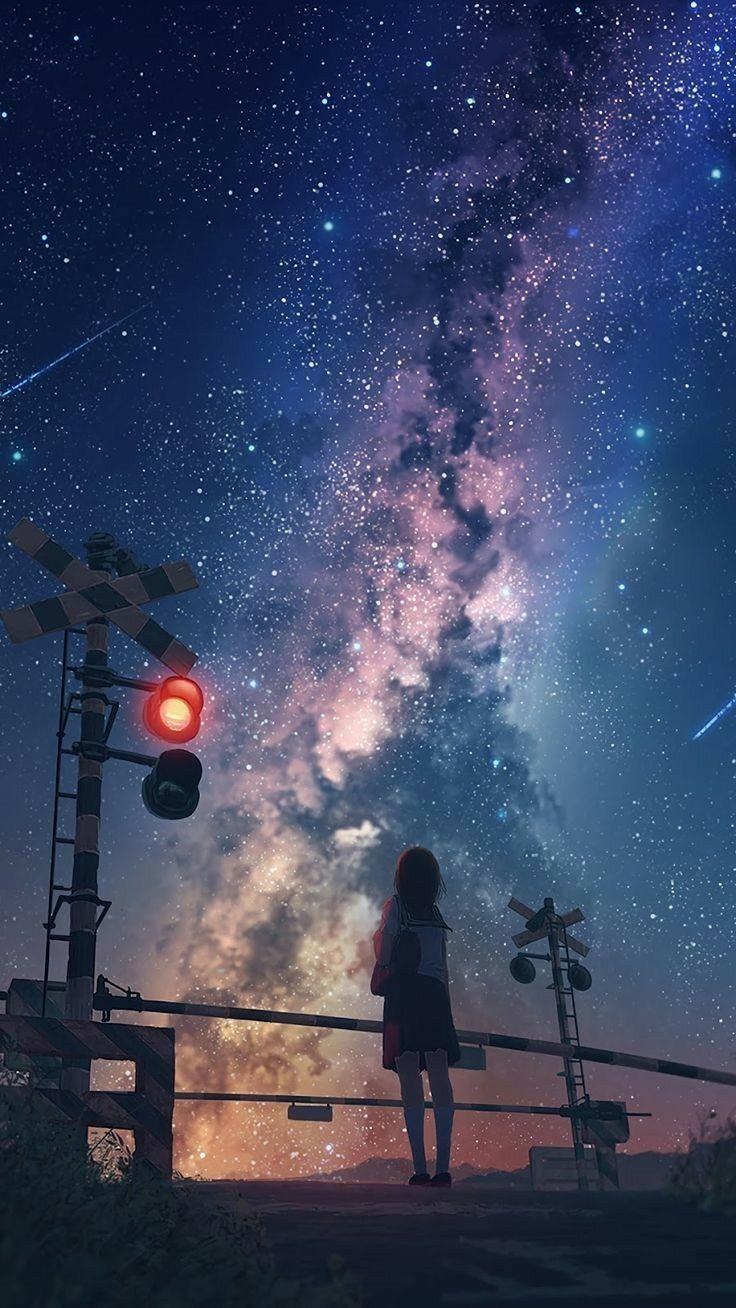 Anime Wallpapers Pixiv Scenery Starrysky Di 2020 Pemandangan Anime Pemandangan Khayalan Pemandangan Abstrak