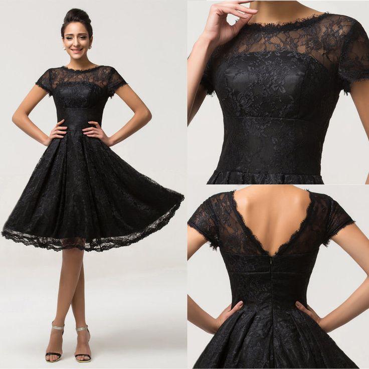Kurz Vintage KLEID Abendkleider Cocktailkleid Ballkleid Partykleid Brautkleider