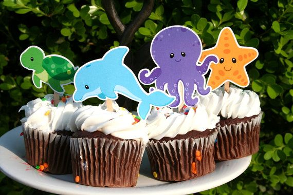 Under the Sea Ocean Cupcake Toppers Set of 12 by PaperPartyParade, $6.00