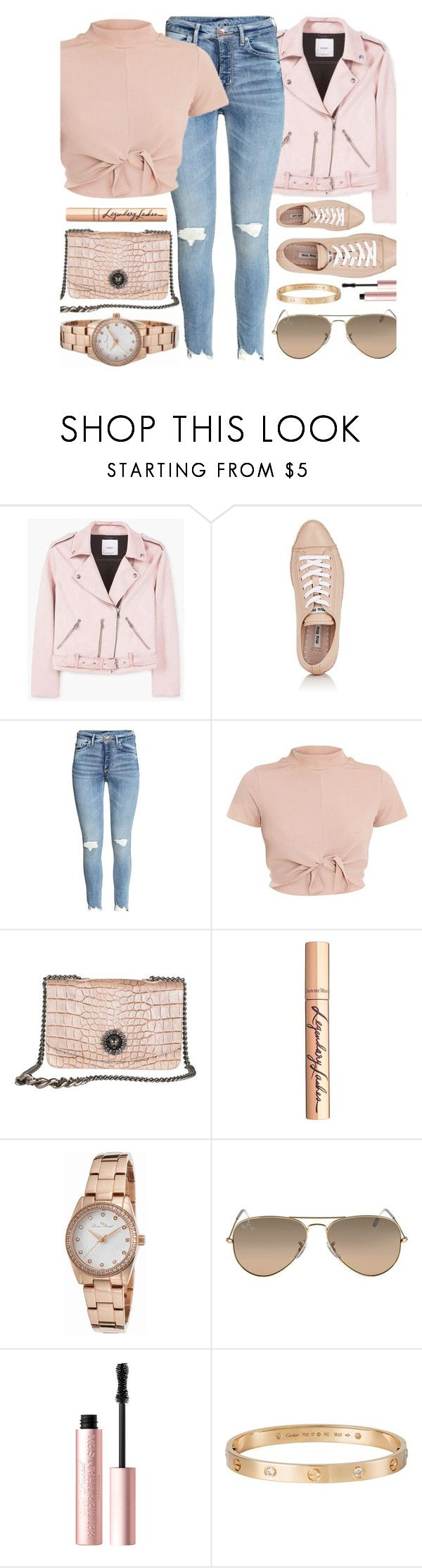 """Dream Maker"" by monmondefou ❤ liked on Polyvore featuring MANGO, Miu Miu, Charlotte Tilbury, Lucien Piccard, Too Faced Cosmetics, Cartier and Pink"