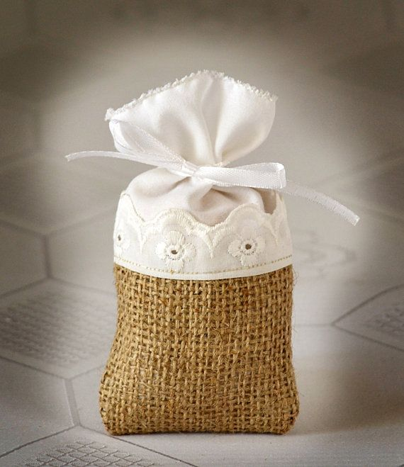 SET OF 100 Natural Rustic Burlap and Linen Wedding Favor Bag or Gift Bag 3x5 inches with flowers