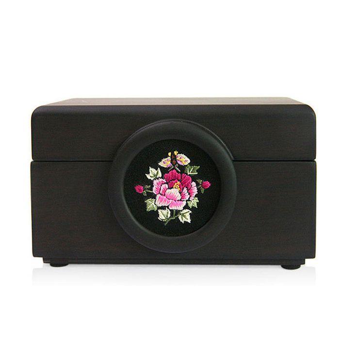 Korea Traditional Mini Black Peony Hibiscus Flower Embroidery Jewelry Card Box #Handmade