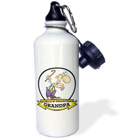 3dRose Funny Worlds Greatest Grandpa Cartoon, Sports Water Bottle, 21oz