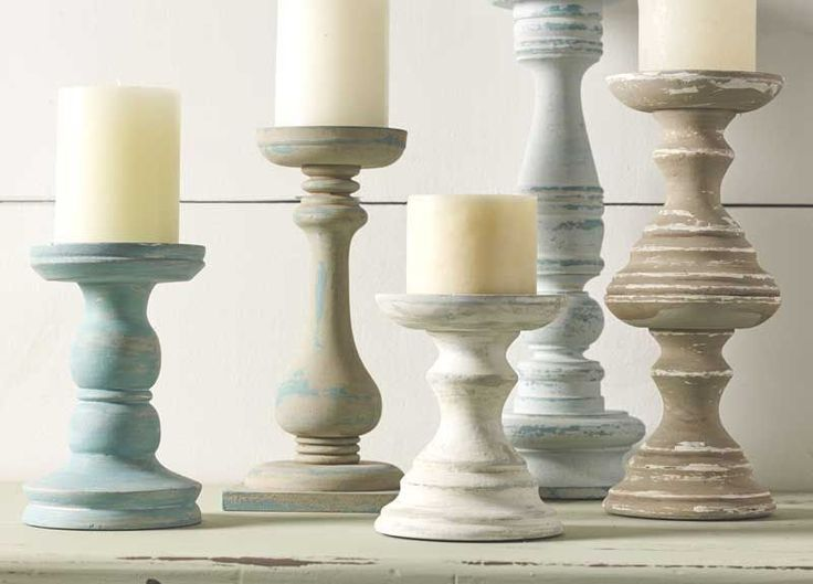 Get thrift store candle holders and paint in coordinating colors with chalk paint! Super easy home decor solution using @waverlyhome Inspirations Chalk @walmart #plaidcrafts