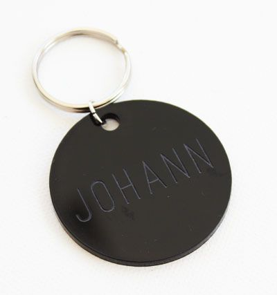 Personalised key rings made from a range of perspex colours. We can custom engrave them with your guests names or logo. Created by Secret Diary.