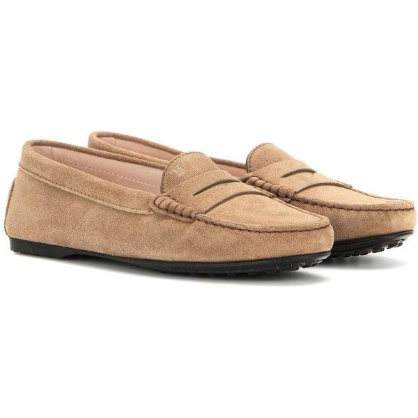 Tod's Gommini Suede Loafers ($435) ❤ liked on Polyvore featuring shoes, loafers, brown, tods shoes, suede shoes, brown suede shoes, brown shoes and brown suede loafers
