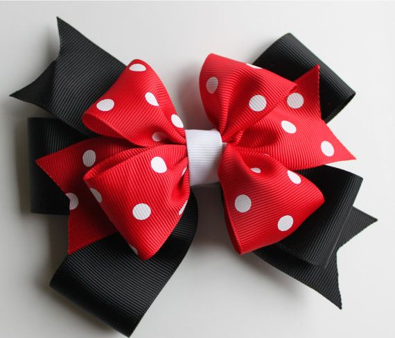 Red, White, and Black Polka Dot Hair Bow - Minnie Mouse - Disney - Girl Bow - Baby Hair Bow - Large Size