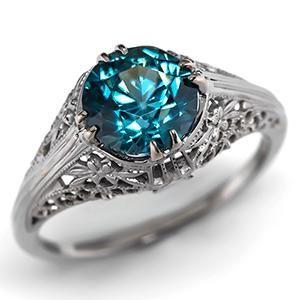 Antique Blue Zircon Engagement Ring w/ 18K White Gold Filigree