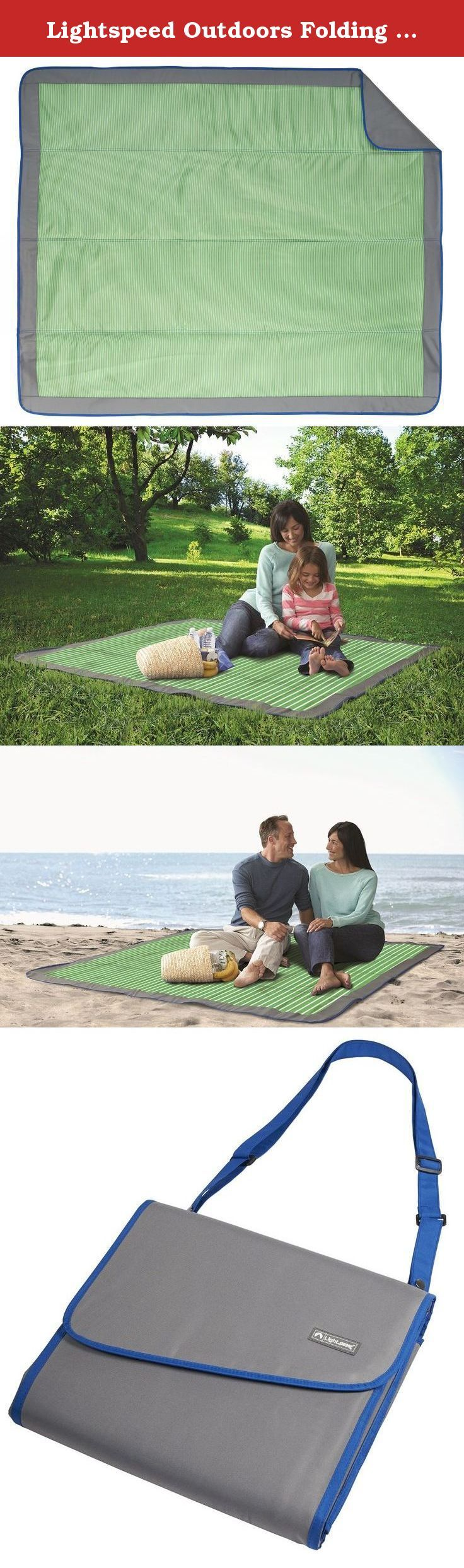 Lightspeed Outdoors Folding Outdoor Blanket, 58 x 70-inch (Green Stripe). The Lightspeed Outdoors Folding Outdoor Blanket was designed for any family occasion. Comprised of 3-layers, this outdoor blanket is a technical masterpiece. The first layer is a heavy yet spongy material that insulates the middle cushion layer from wet and hard ground. A top layer of soft, water repellent polyester brings it all together. The perfect complement to most of our shelters, this outdoor blanket is one…