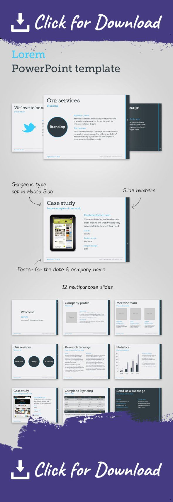Lorem PowerPoint template is a modern, professional PowerPoint template for Microsoft PowerPoint 2007 and 2003. The template includes 12 slides for case studies, business proposals, graphs, tables and regular text. A color and font scheme is used to provide flexibility for customization. Features  12 multipurpose slides Gorgeous type set in Museo Slab Professional color scheme All elements aligned on a grid Business proposal text to get you started Documentation Theme file  Requirements…