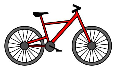 Nice cartoon bicycle made with tiny rectangles and wide circles. Try it! :)